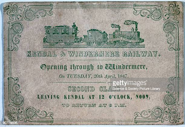 Ticket for the opening of the Kendal Windermere Railway through to Windermere 20 April 1847