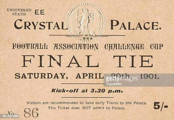 A ticket for the Tottenham Hotspur versus Sheffield United FA Cup Final played at the Crystal Palace in London on 20th April 1901 The match the first...