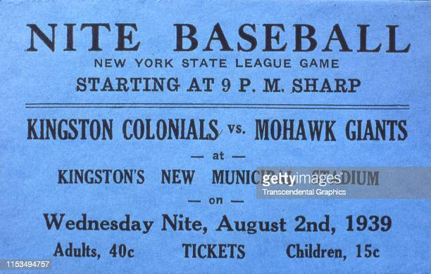 Ticket from a New York State League baseball game between the Kingston Colonels and Mohawk Giants at Municipal Stadium Kingston New York August 2 1939