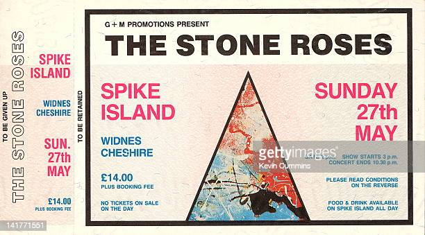 A ticket from an outdoor concert given by British rock group The Stone Roses at Spike Island Widnes Cheshire 27th May 1990