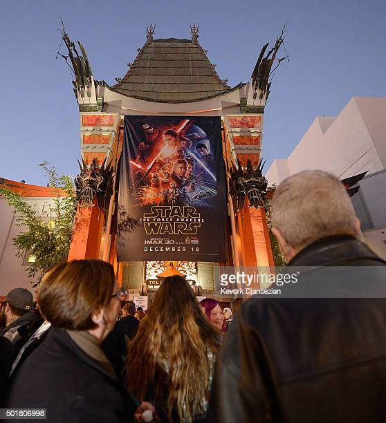 Ticket holders begin to line up for the opening night of Walt Disney Pictures and Lucasfilm's 'Star Wars The Force Awakens' at TCL Chinese Theatre on...