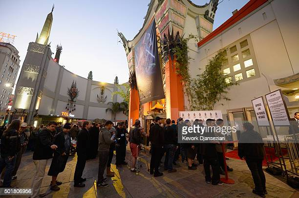 Ticket holders line up for the opening night of Walt Disney Pictures and Lucasfilm's 'Star Wars The Force Awakens' at TCL Chinese Theatre on December...