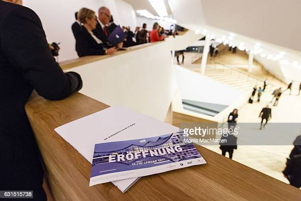 A ticket is seen in the foyer during the opening concert of the Elbphilharmonie concert hall on January 11 2017 in Hamburg Germany Tonights opening...