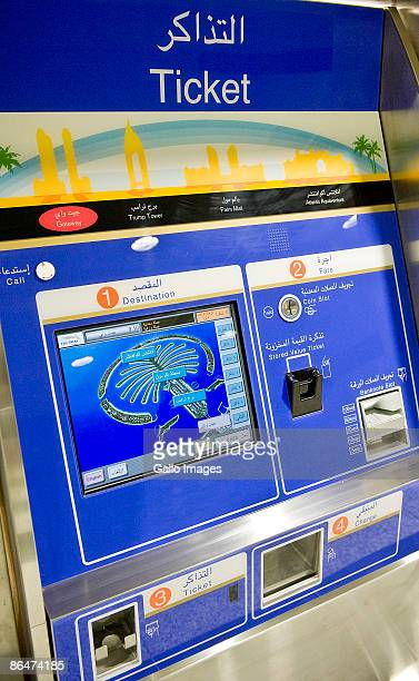 A ticket machine displays info as the Palm Monorail opens for business ferrying passengers between Gateway Towers and Atlantis stations May 6 2008 in...