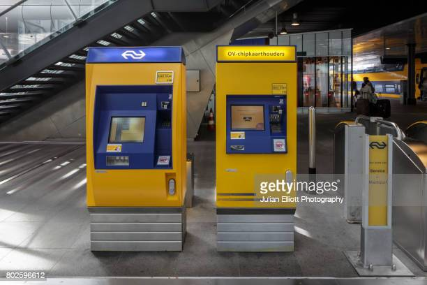 Ticket machines in Den Haag Centraal Station in the Netherlands.