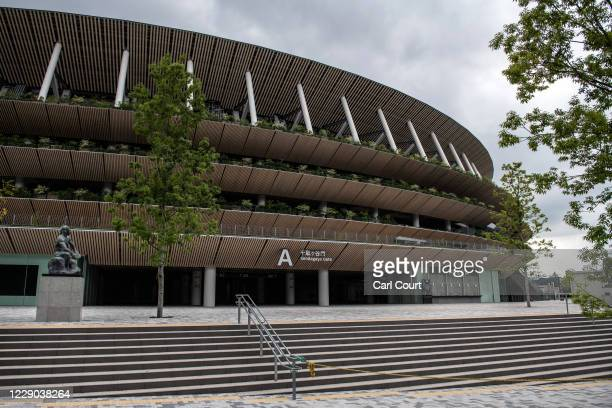 Ticket office and entrance for the Olympic Stadium are pictured on October 13, 2020 in Tokyo, Japan. Despite assurances from senior International...