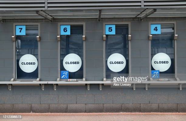 Ticket office windows outside the Etihad Stadium home of Manchester City FC are seen as the scheduled match to be played today between Manchester...