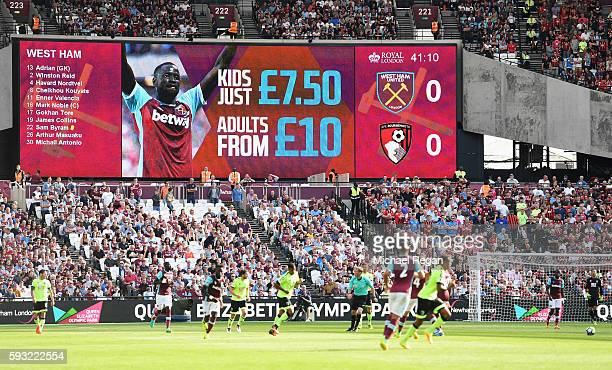 Ticket prices are advertised on the scoreboard during the Premier League match between West Ham United and AFC Bournemouth at London Stadium on...
