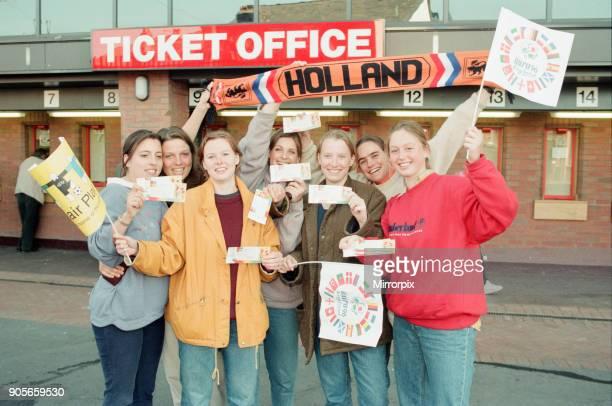 Ticket Queues at Anfield Stadium for Quarter Final match between France and Netherlands Liverpool Thursday 20th June 1996 Dutch Football Fans