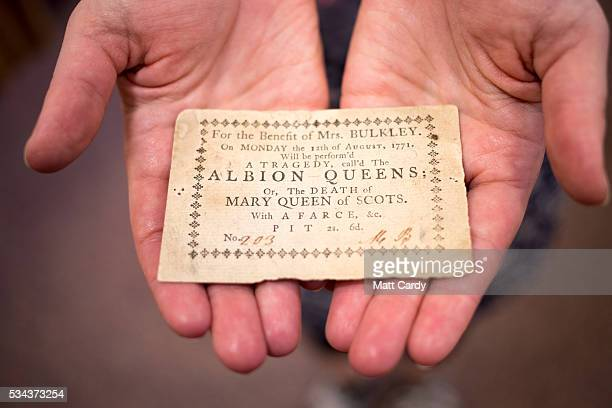 Ticket to 'A Tragedy, call'd The Albion Queens Or the death of Mary Queen of Scots', part of the Bristol Old Vic's archive, is displayed at the...