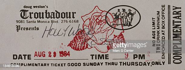A ticket to see the rock group 'Hollywood Rose' perform August 29 1984 at the Troubadour in Los Angeles California