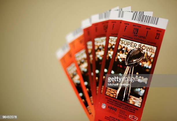 Tickets for Super Bowl XLIV are seen on February 5 2010 in Miami Gardens Florida The Indianapolis Colts will play the New Orleans Saints in the NFL's...
