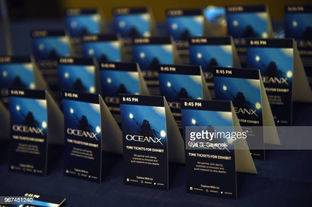 Tickets for the exhibit on display during the Launch Of OceanX a bold new initiative for ocean exploration at the American Museum of Natural History...