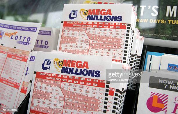 Tickets for the Mega Millions lottery is seen June 23 2005 in San Francisco California Retailers began to sell tickets for the highjackpot Mega...