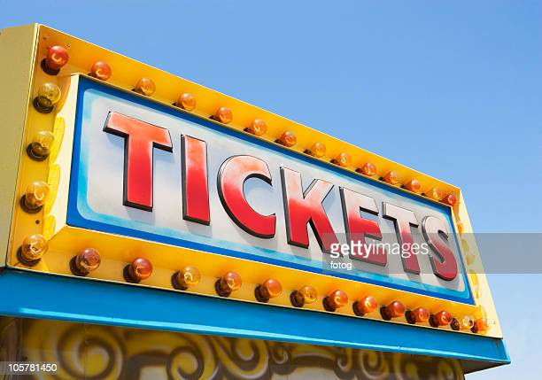 tickets sign at fairgrounds - coney island stock pictures, royalty-free photos & images