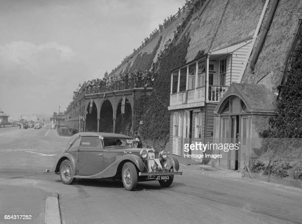 Tickford tourer of Lilian Roper competing in the RAC Rally Madeira Drive Brighton 1939 Artist Bill Brunell MG VA Tickford tourer 1549 cc Vehicle Reg...