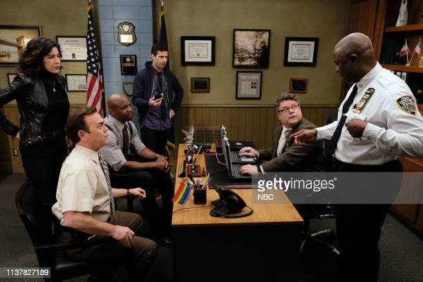 NINE Ticking Clocks Episode 615 Pictured Stephanie Beatriz as Rosa Diaz Joe Lo Truglio as Charles Boyle Terry Crews as Terry Jeffords Andy Samberg as...