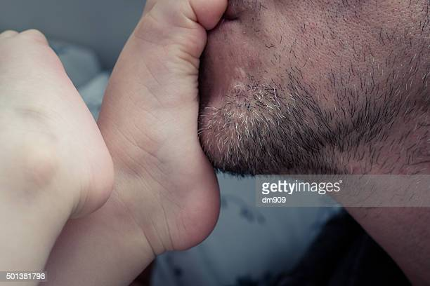tickling my baby boy - tickling feet stock photos and pictures