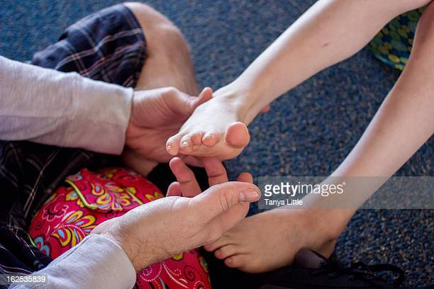 ticklish feet - tickling feet stock photos and pictures