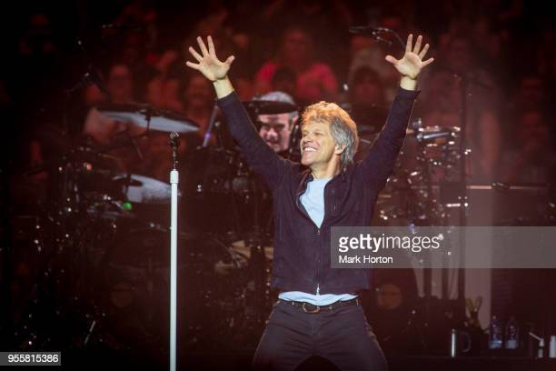 Tico Torres and Jon Bon Jovi of Bon Jovi perform in concert during the 'This House is Not for Sale' tour at the Canadian Tire Centre on May 7 2018 in...