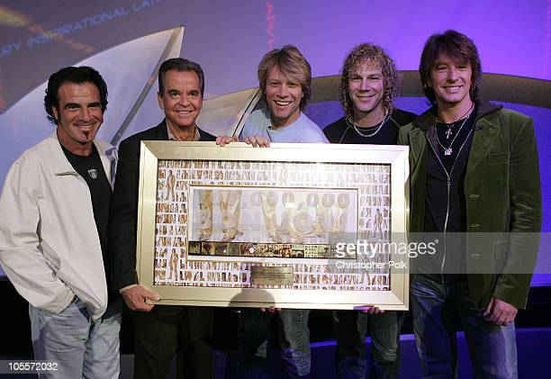 Tico Torres Dick Clark Jon Bon Jovi David Bryan and Richie Sambora of Bon Jovi