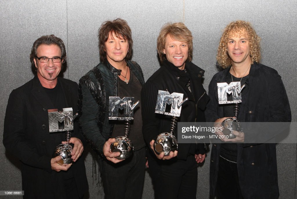 L-R Tico torres, Richie Sambora, Jon Bon Jovi and David Bryan of Bon Jovi pose with their MTV Icon pose in the studio for the MTV Europe Music Awards 2010 at La Caja Magica on November 7, 2010 in Madrid, Spain.