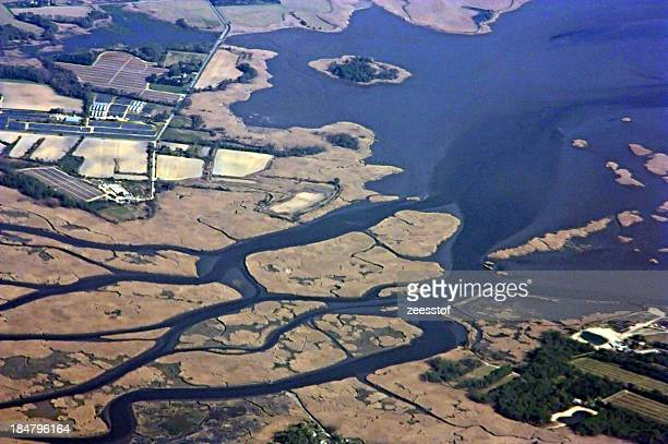 tidal channels on the salem river - zeesstof stock pictures, royalty-free photos & images