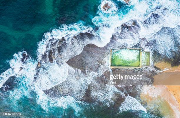 tidal pool, northern beaches, sydney, new south wales, australia - sydney stock pictures, royalty-free photos & images