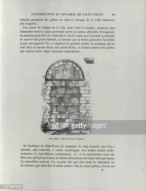 Tide gate, at the church of the City, in Périgueux, Gate of Eglise Saint Etienne de la Cité in Périgueux, p. 65 Félix de Verneilh; L'architecture...