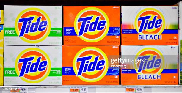 Tide laundry detergent sits on display in a supermarket in New York US on Monday Aug 3 2009 Tide is a brand of Proctor Gamble the world's largest...