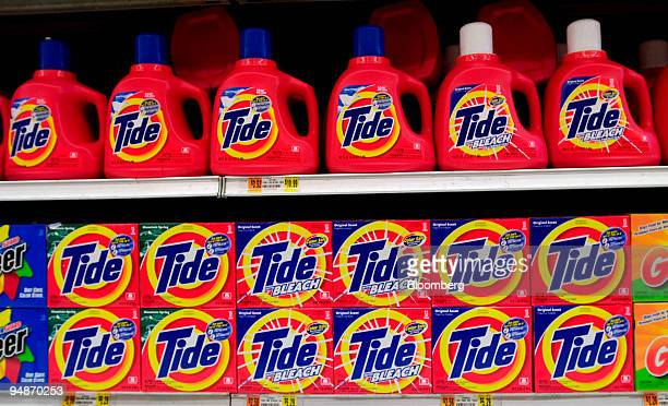 Tide laundry detergent sits on display in an Associated Supermarket on October 27 2004 Procter Gamble Co the biggest US householdgoods maker said...