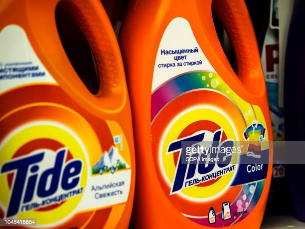 Tide Original Scent Liquid Laundry Detergent is seen in a Ukranian store Tide is a laundry detergent owned and produced by American multinational...