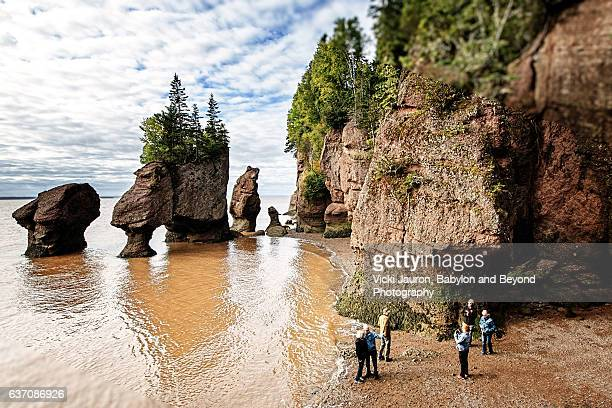 tides at hopewell rocks and lovers arch in new brunswick, canada - atlantic ocean stock pictures, royalty-free photos & images