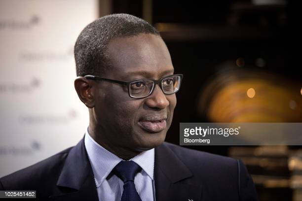Tidjane Thiam chief executive officer of Credit Suisse Group AG speaks during a Bloomberg Television interview in Beijing China on Friday Aug 31 2018...
