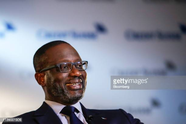 Tidjane Thiam chief executive officer of Credit Suisse Group AG reacts during a Bloomberg Television interview in Zurich Switzerland on Wednesday...