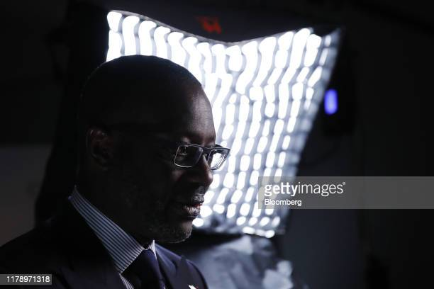 Tidjane Thiam chief executive officer of Credit Suisse Group AG pauses during a Bloomberg Television interview in Zurich Switzerland on Wednesday Oct...