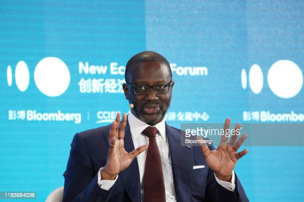 Tidjane Thiam chief executive officer of Credit Suisse Group AG speaks during a panel discussion at the Bloomberg New Economy Forum in Beijing China...