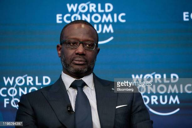 Tidjane Thiam chief executive officer of Credit Suisse Group AG pauses during a panel session on day two of the World Economic Forum in Davos...