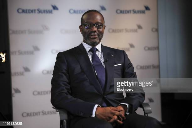 Tidjane Thiam chief executive officer of Credit Suisse Group AG speaks during a Bloomberg Television interview in Zurich Switzerland on Wednesday...