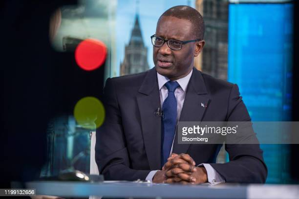Tidjane Thiam chief executive officer of Credit Suisse Group AG speaks during a Bloomberg Television interview in London UK on Tuesday Nov 28 2017...