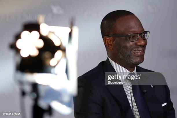 Tidjane Thiam chief executive officer of Credit Suisse Group AG reacts during a Bloomberg Television interview in Zurich Switzerland on Thursday Feb...