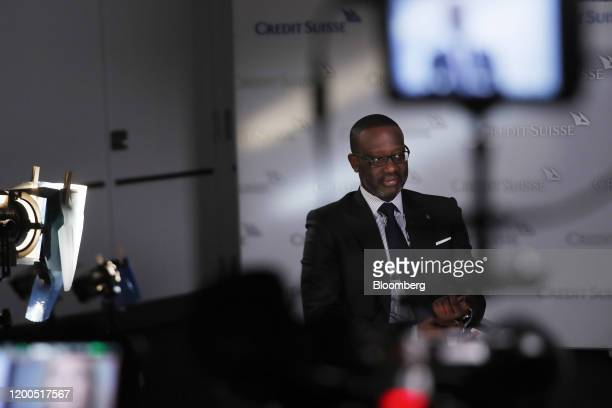 Tidjane Thiam chief executive officer of Credit Suisse Group AG speaks during a Bloomberg Television interview in Zurich Switzerland on Thursday Feb...