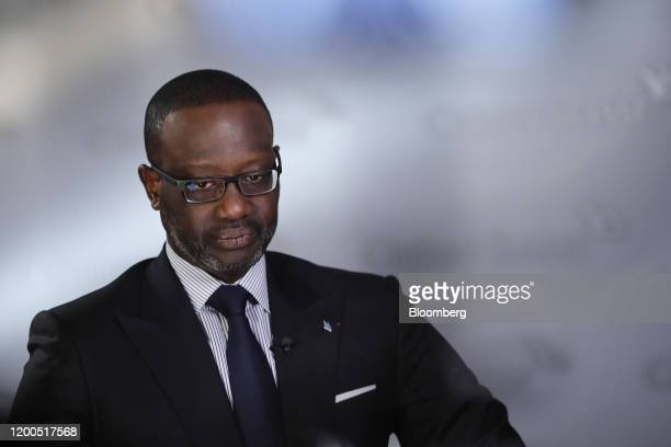 Tidjane Thiam chief executive officer of Credit Suisse Group AG pauses during a Bloomberg Television interview in Zurich Switzerland on Thursday Feb...