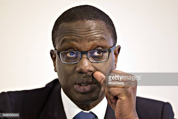 Tidjane Thiam chief executive officer of Credit Suisse Group AG reacts during a news conference to announce full year results at the bank's...