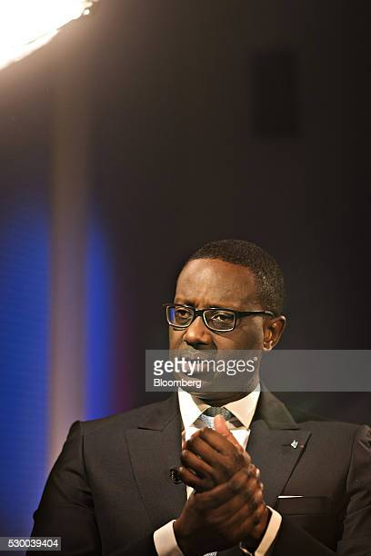 Tidjane Thiam, chief executive officer of Credit Suisse Group AG, gestures during a Bloomberg Television interview at the bank's headquarters, ahead...