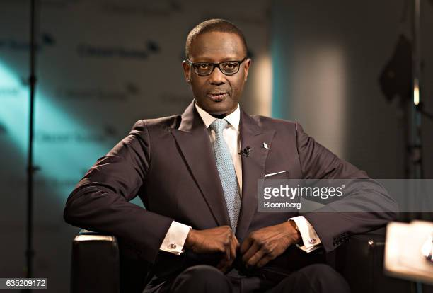 Tidjane Thiam, chief executive officer of Credit Suisse Group AG, pauses during a Bloomberg Television interview at the bank's headquarters ahead of...