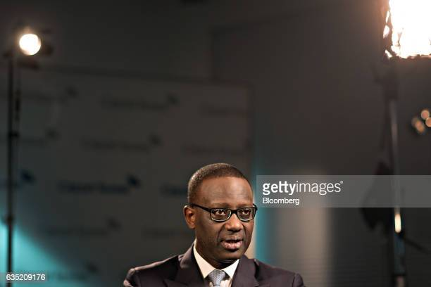 Tidjane Thiam, chief executive officer of Credit Suisse Group AG, speaks during a Bloomberg Television interview at the bank's headquarters ahead of...