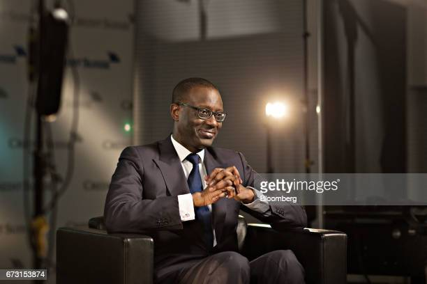 Tidjane Thiam chief executive officer of Credit Suisse Group AG pauses during a Bloomberg Television interview in Zurich Switzerland on Wednesday...
