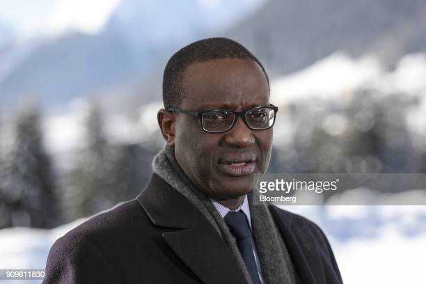 Tidjane Thiam chief executive officer of Credit Suisse Group AG speaks during a Bloomberg Television interview on day two of the World Economic Forum...