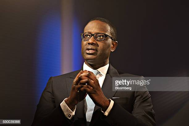 Tidjane Thiam, chief executive officer of Credit Suisse Group AG, gestures as he speaks during a Bloomberg Television interview at the bank's...